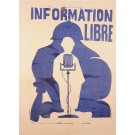 "French Poster Student Revolution 1968 ""Information Libre"""