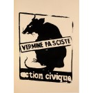"Vintage French 1968 Student Revolution Poster ""Vermine Fasciste"" -Black Version"