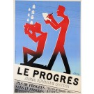 "Original Vintage French Art Deco Poster ""Le Progress"" By Paul Colin"