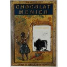 French Poster on Metal Plaque with a Mirror for Chocolat Menier