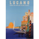 "Original Vintage Swiss Travel Poster ""Lugano"" 1950's by Buzzi, Daniele"