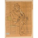 "Original Vintage American Drawing on Paper ""Seated Man"" by Joseph Solman"