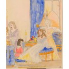 """Original Vintage colored small  Drawing on Paper """"The Servants"""" 1930"""