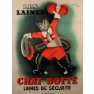 "Original Vintage French Poster ""Laines du Chat Botté"" Cat by Gischia 1934"