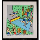 """Original Acrylic on Canvas Painting Signed """"STEPS IN A STEEPLECHASE"""" J. Rizzi 94"""