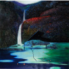 """Original Signed Acrylic on Canvas Painting """"The Rocky Piano"""" Contemporary Chinese Art by Hei Feng"""