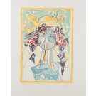 """Original Israeli Etching """"Head of a Woman"""" by Isaac Kahn Signed & Numbered A.P."""