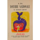 """Original Vintage Loterie Nationale Poster """"Jonas"""" by Lucien Boucher-1960"""