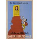 """Original Vintage Loterie Nationale Poster """"Ou Que Vous Soyez…"""" 1960"""