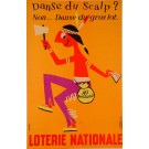 "Original Vintage Loterie Nationale Poster by Omnès ""Danse du Scalp"" ca. 1960"