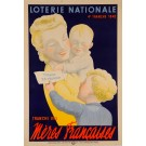 "Original Vintage Loterie Nationale Poster ""Meres Francaises"" 1940"