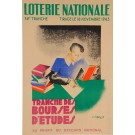 "Original Vintage Loterie Nationale Poster ""Bourses D'etudes"" by Carlo 1943"