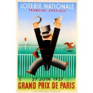 Loterie Nationale Poster ;Grand Perix Paris, Derouet Grilleres