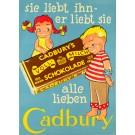 """Original Vintage Chocolate German Poster """"Cadbury's schokolade"""" by Sim"""