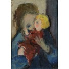 "Original Extremely Rare Oil on Canvas Painting by Itzhak Tarkay ""Child with a Doll"" 1960's"