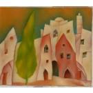 "Original Signed Acrylic on Canvas Painting ""Houses of Jerusalem"" by Harry Guttman"