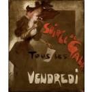 """Original Painting on Canvas by Grun """"Soiree de Gale Tous Les Vendredi"""""""