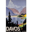 "Original Vintage Swiss Travel Poster ""Davos"" Ski Resort by Otto Baumberger 1932"