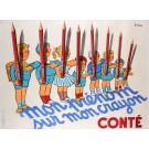 "Original Vintage French Poster ""Conte Crayon"" by Bellenger 1950's"