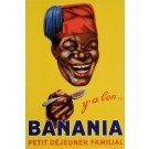 "Original Vintage French Poster Advertising Chocolate Drink ""Banania"" Cocoa 1953"