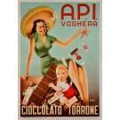 Original Italian Chocolate Poster for A.P.I Company in Voghera