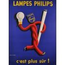 """Original Vintage French Poster """"Lampes Philips - c'est plus sur !"""