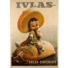 "Original Vintage Italian Poster for ""IVLAS"" Cacao and Cioccolato by Boccasile"