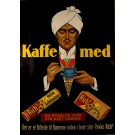 "Original Vintage Danish Poster Advertising ""Kaffe Med Rich's"" Coffee 1930's-40's"