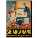 "Original Vintage Italian Poster for ""SBIANCAMANO"" Soap for Dishes SOLD AS IS"