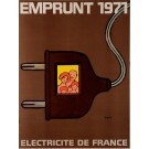 "Original Vintage French Poster Public Loans ""Electricite de France"" by Savignac"