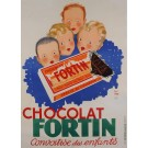 "Original Vintage French Poster for ""Chocolat Fortin"" by Paul Igert 1934"