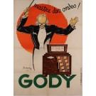 Original Vintage French Poster Advertising Gody's,Radio Receivers