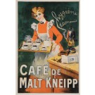 "Original Vintage French Poster ""Cafe de Malt  Kneipp"" by Grun. ca 1900"