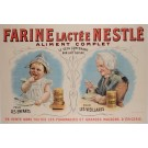 "Original Swiss Children Poster ""Farine Lactée Nestlé"" Baby Formula ca. 1900"