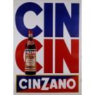 """Original Vintage Alcohol Advertising Poster """"CIN CIN Cinzano"""""""