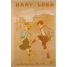"Original Vintage French Poster ""Nany et Lona"" by Francisque Poulbot ca. 1900"