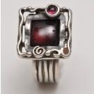 Artisan Sterling Silver Women Ring Square Garnet Cabochon Ring Size 8