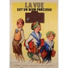"Original Vintage French Poster Advertising ""La Vue"" S.O.F Oprometrist Signed"