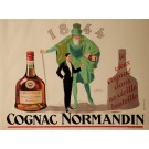 "Original Vintage French Alcohol OVERSIZE Poster for ""Cognac Normandin"" by Jean-Raoul Naurac ca. 1935"