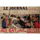 "Original Vintage French OVERSIZE Poster for ""Le Journal"" by Francisque Poulbot ca. 1900"