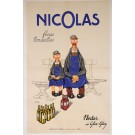 "Original Vintage French OVERSIZE 2 Parts Alcohol Poster for ""Nicolas Fines Bouteilles"" Nectar Glou-Glou d'Apres Dransy 1932"