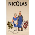 "Original Vintage French OVERSIZE 2 Parts Alcohol Poster for ""Nicolas Fines Bouteilles"" Nectar Felicite d'Apres Dransy 1932"