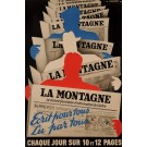 "Original Vintage French Newspaper Poster ""La Montagne"" by Robert Falcucci 1950's"