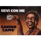 """Original Vintage Poster Advertising """"Garden Caffe - Bevi Con Me"""" Coffee 1950's"""
