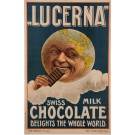 "Original Vintage Swiss Poster Advertising ""Lucrena"" Milk Chocolate 1909"
