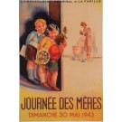 "Original Vintage French Poster Advertising ""Journee des Meres"" by Phili 1943"