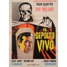 "Original Vintage Italian Movie Poster Advertising ""Il Sepolto Vivo"" 1950's"