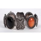 Ethnic Oriental Semi Carnelian Jade Precious Stones Bracelet