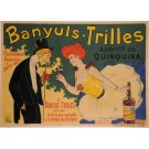 "Original Vintage French Alcohol Poster ""Banyuls-Trilles"" Quinquina by OGE 1902"