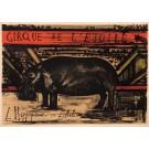 """Original Lithograph""""Cirque de l'étoile - L'Hippopotame en Liberté"""" by B. Buffet"""